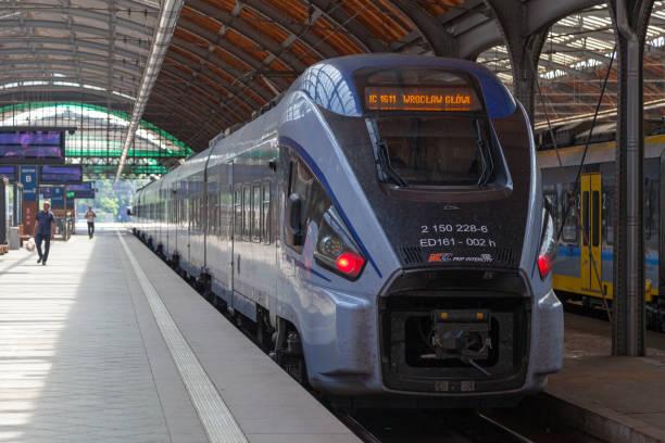 Train at Wrocław główny railway station stock photo