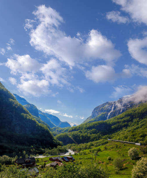 Train between fjords, railroad from Flam to Myrdal in Norway stock photo