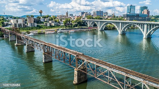 Train Bridge and Road Bridge into Knoxville, Tennessee.