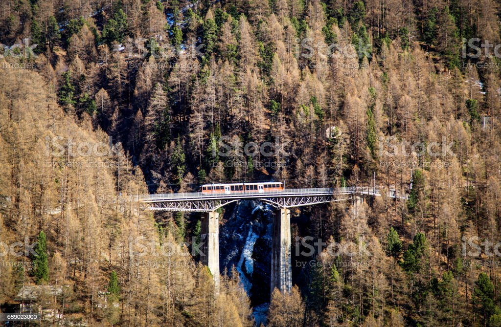 Train Bridge in Zermatt stock photo