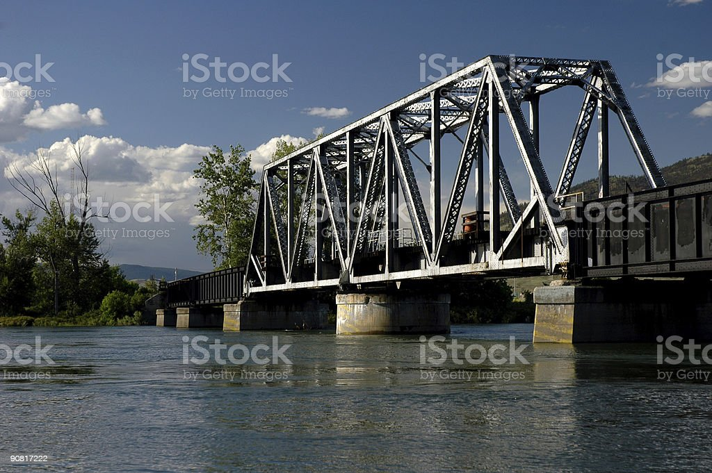 Train Bridge over a River stock photo