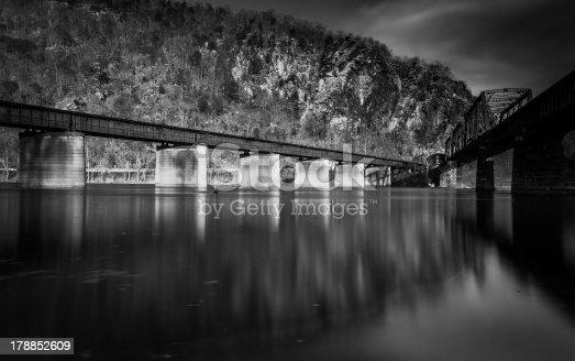 istock Train bridges crossing the Potomac River, in Harper's Ferry, WV 178852609