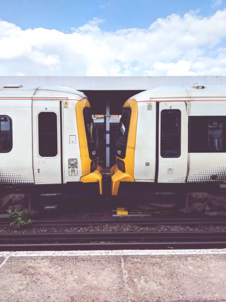 Train carriages at a station stock photo