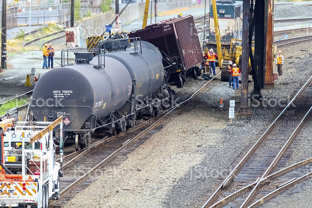 Train Cars Carrying Oil Derailed stock photo