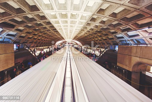 Train cars arrive in a Washington DC Metro Station