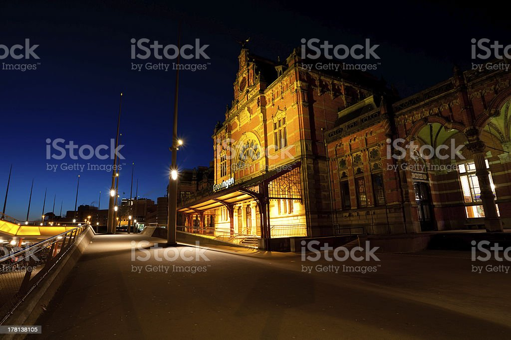 Train Central station in Groningen at night stock photo