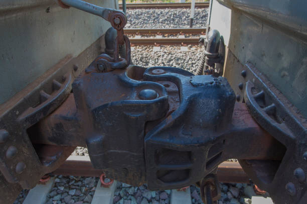 Train connection joint. Train bogie connection joint equipment. coupling device stock pictures, royalty-free photos & images