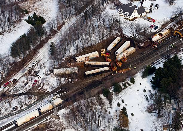 train crash in a small town - derail bildbanksfoton och bilder