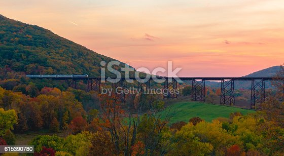 A commuter train crosses the Moodna Viaduct in Cornwall, New York.