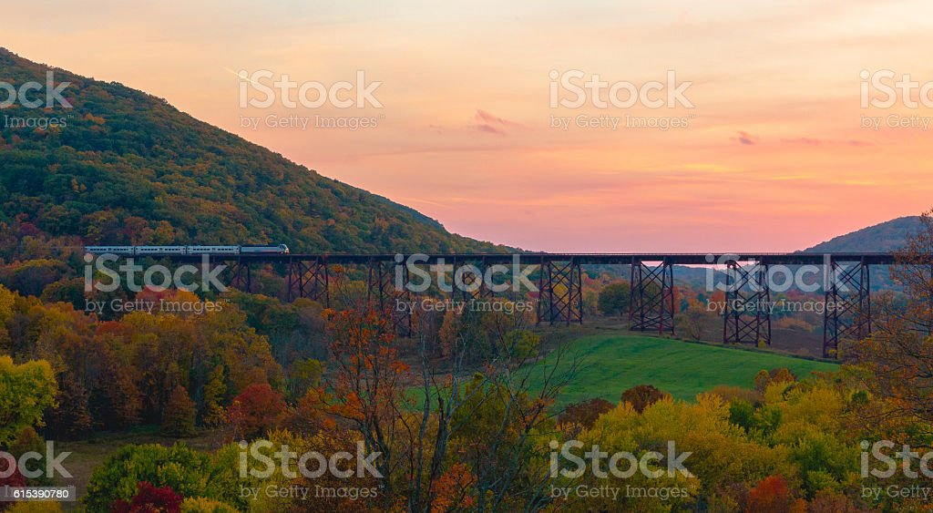 Train Crossing Bridge stock photo