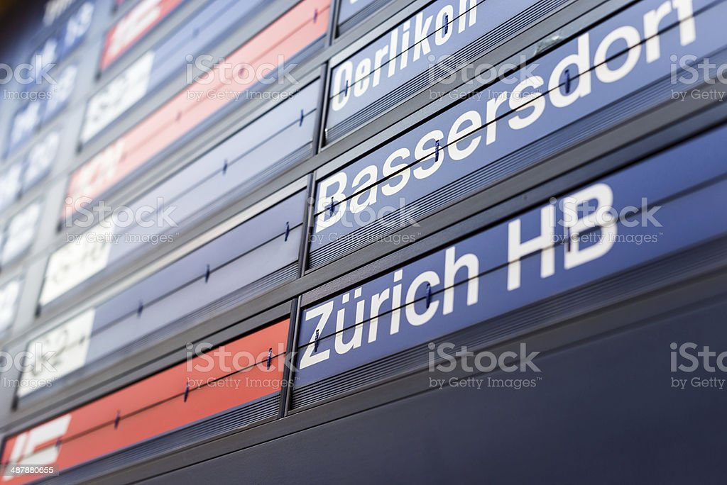 train departure board at Zurich airport train departure board at Zurich airport Arrival Departure Board Stock Photo