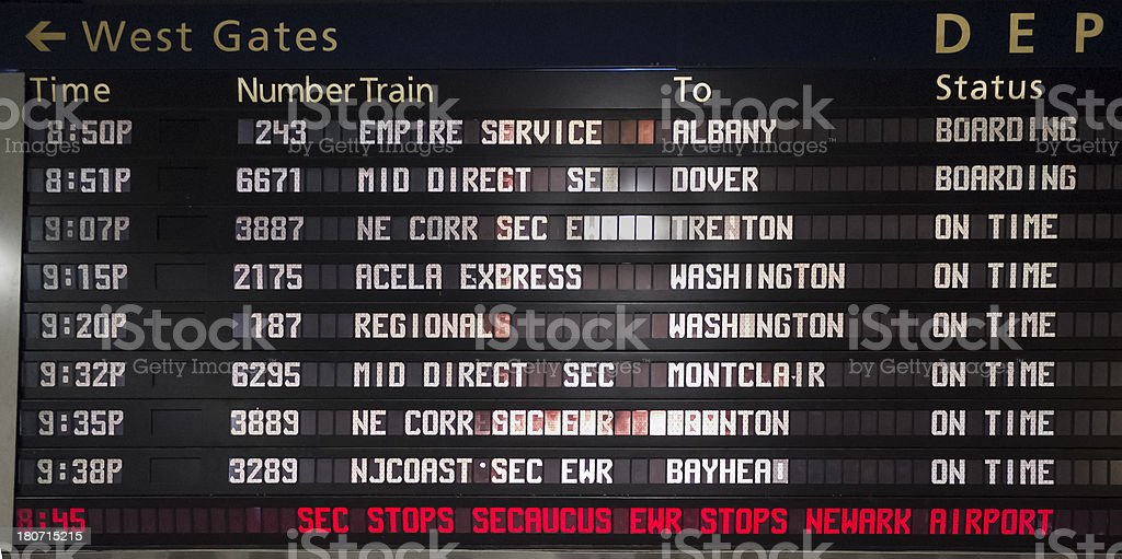 Train Departure Board Penn Station New York City stock photo