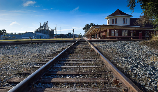 Train Depot and Tracks in Small Town