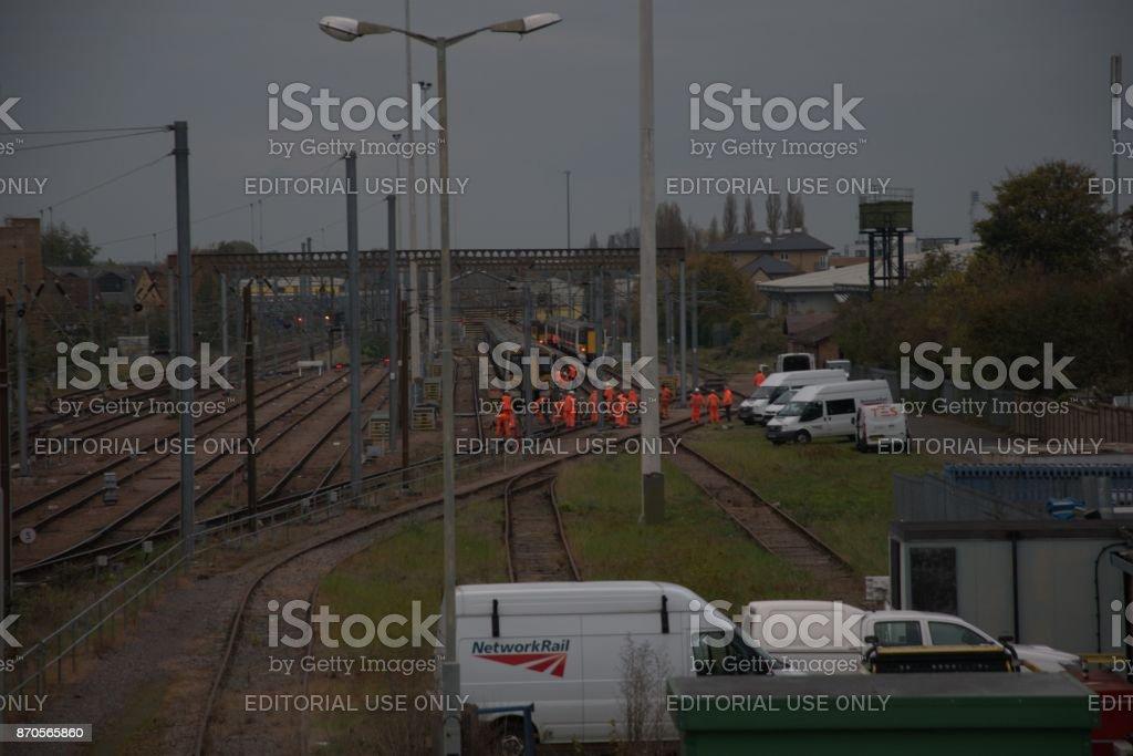 Train Derailment work stock photo