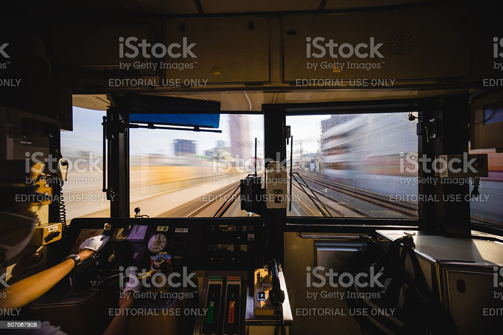 Train driver in Osaka, Japan stock photo