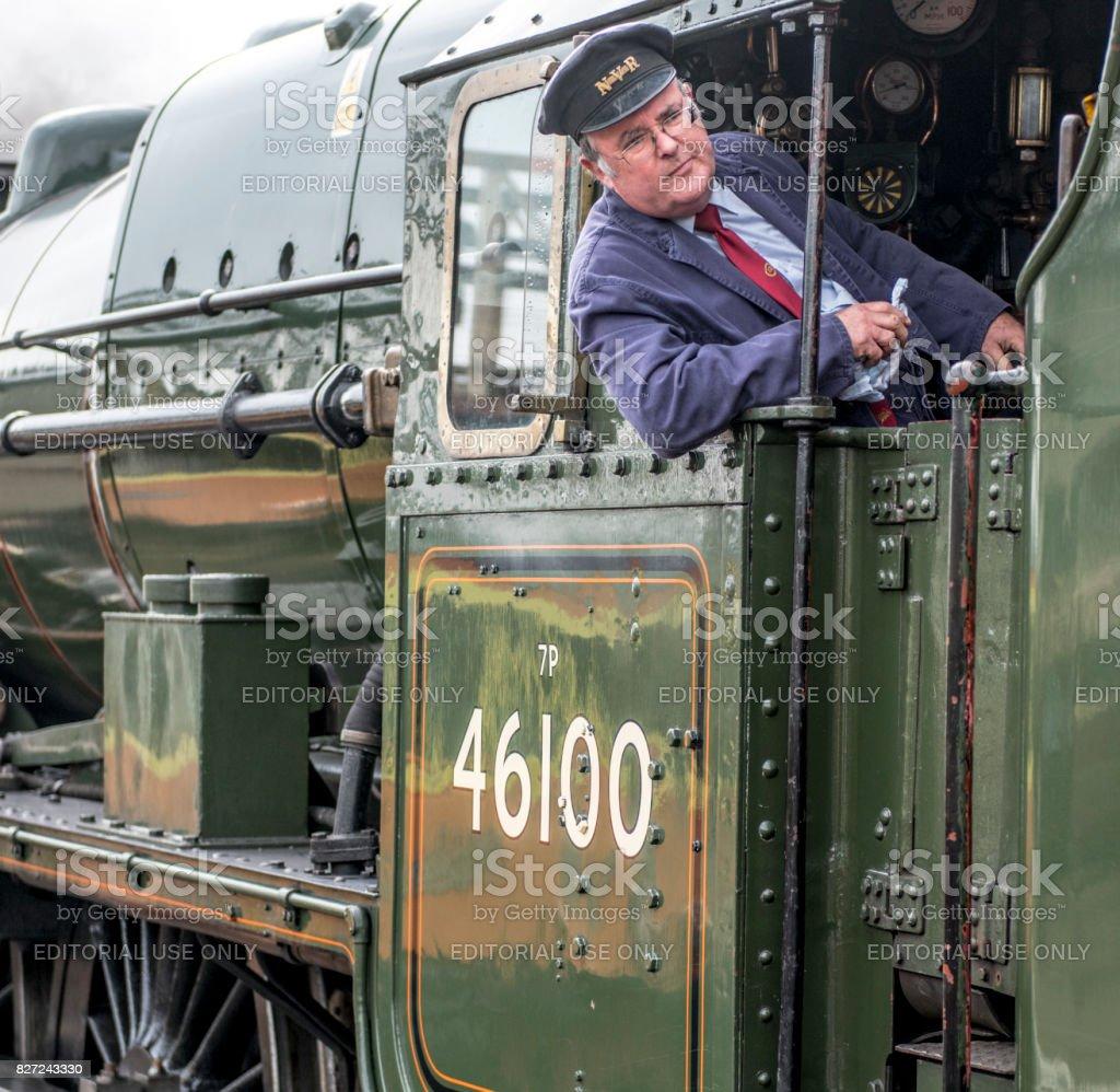 Train Driver of Royal Scot Steam Train stock photo