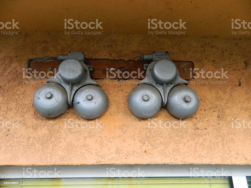 Train electric ring signals stock photo