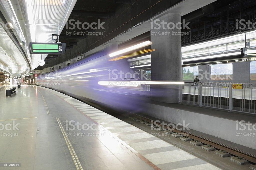 Train enteres station royalty-free stock photo