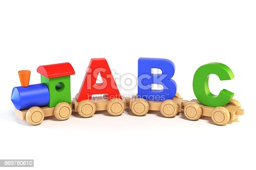 istock Train font, locomotive with ABC letters as railroad cars 3d rendering 869780610