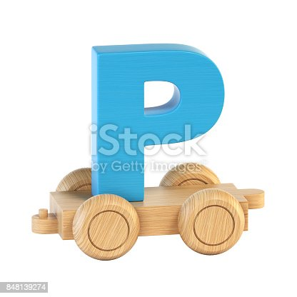 istock Train font on wheels letter P 848139274
