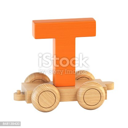 istock Train font on wheels letter T 848139400