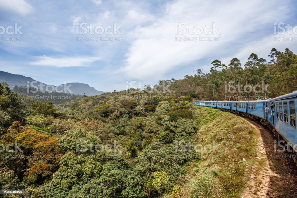 Train from Ella to Kandy among the jungle and mountains. stock photo
