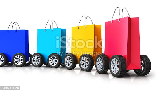 istock Train from group of paper shopping bags with car wheels 638757228