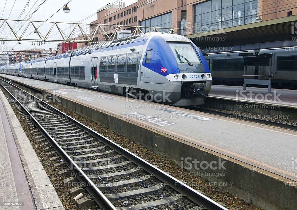 Train from SNCF at the platform stock photo