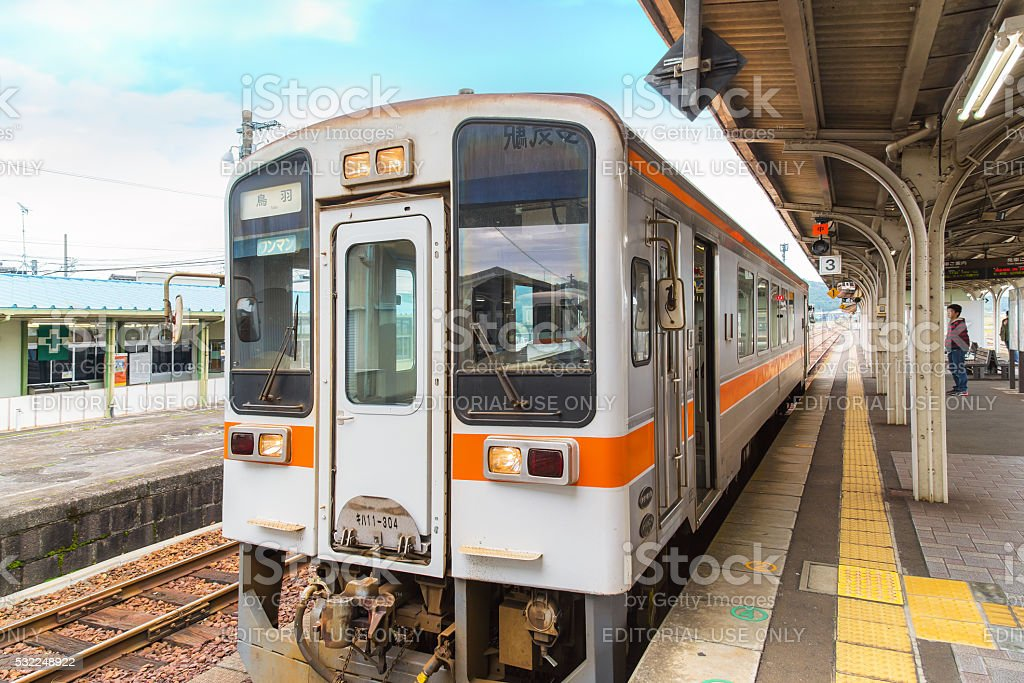 Train from Taki station to Ise City in Mie Prefecture stock photo