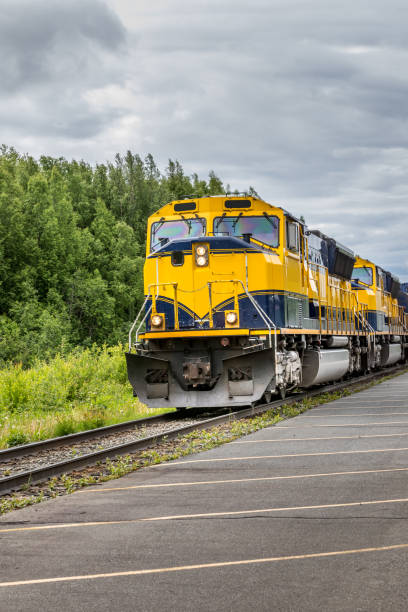 Train going on a railroad track to Denali National Park Alaska stock photo