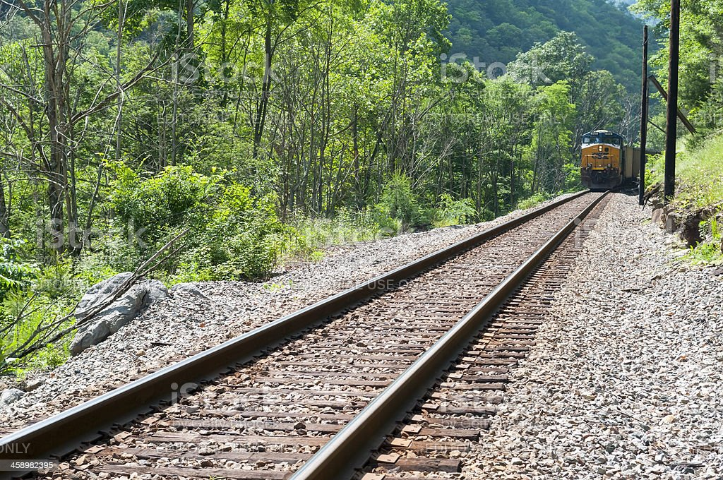 CSX train hauling coal in Appalachia royalty-free stock photo