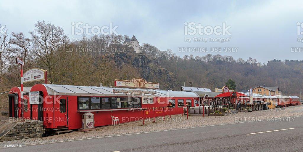 Train Hotel and Restaurant in Wolkenstein Erzgebirge stock photo