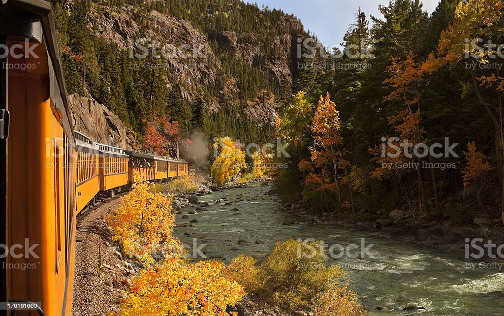 Train in a Mountain Canyon stock photo