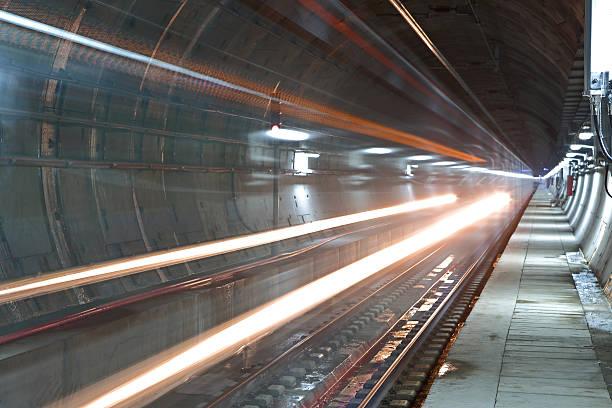Train in a tunnel stock photo