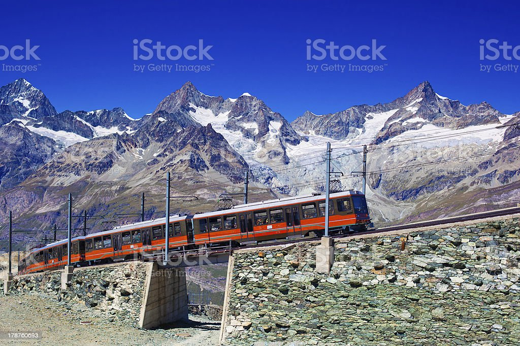 Train in Alps royalty-free stock photo