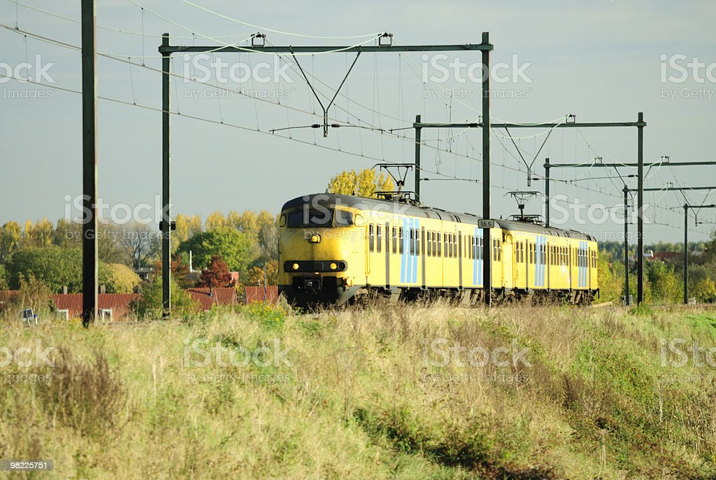 Train in autumn landscape royalty-free stock photo