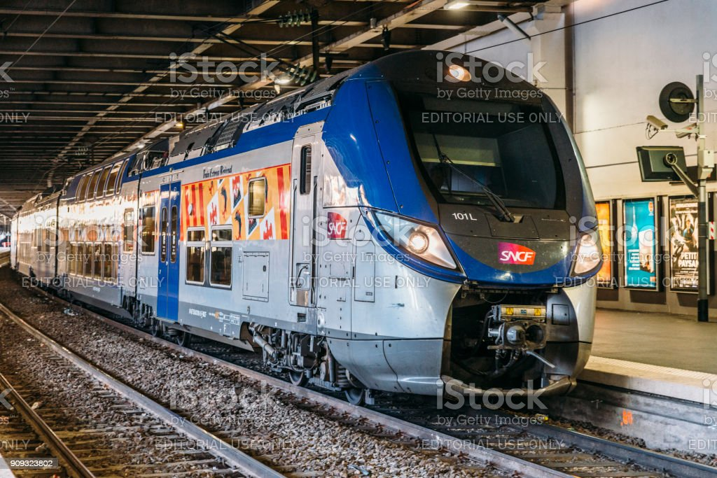 SNCF train in Cannes, Cote d'Azur, France stock photo