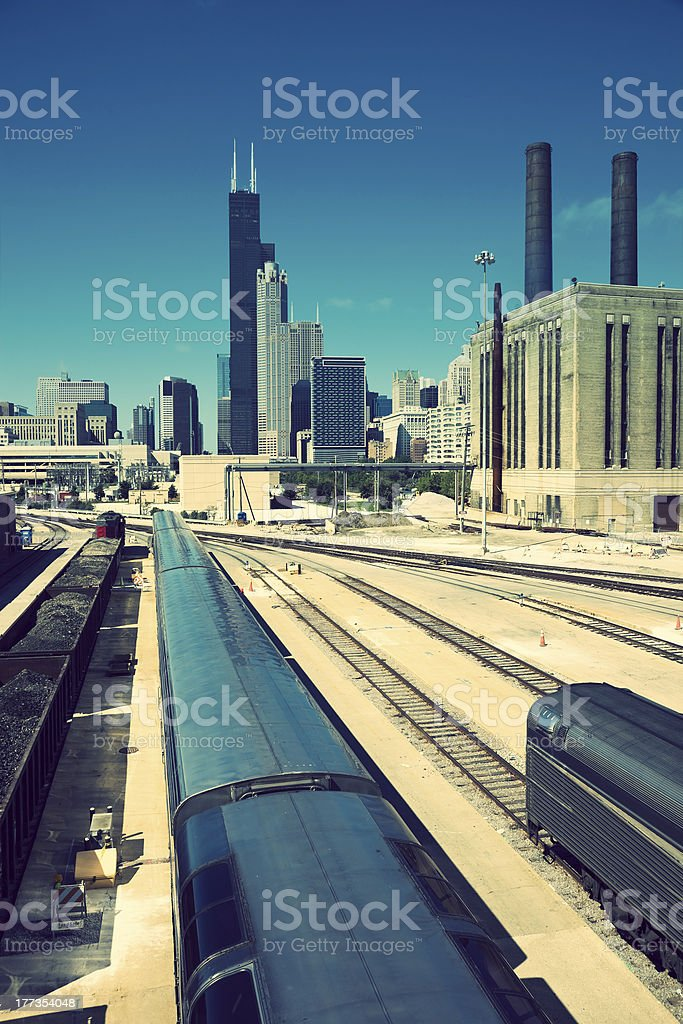 Train in Chicago stock photo