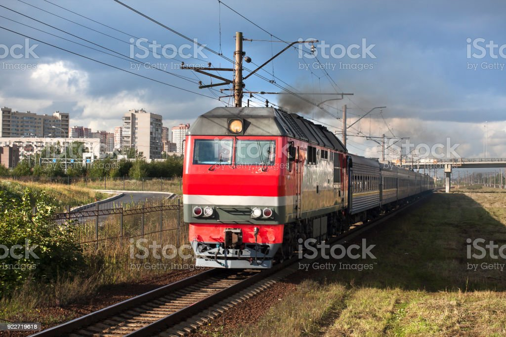 Train in city landscape. stock photo