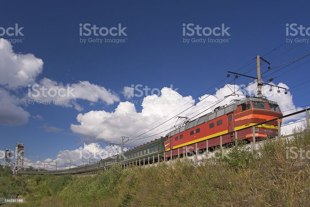 Train in clouds stock photo
