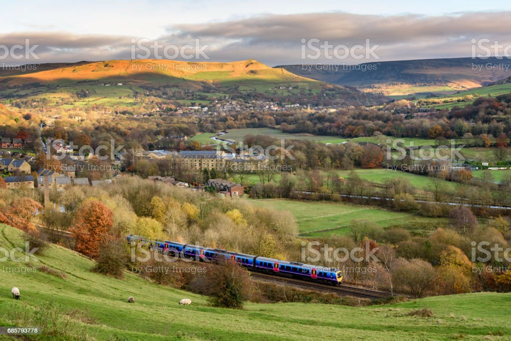 Train in English Countryside stock photo