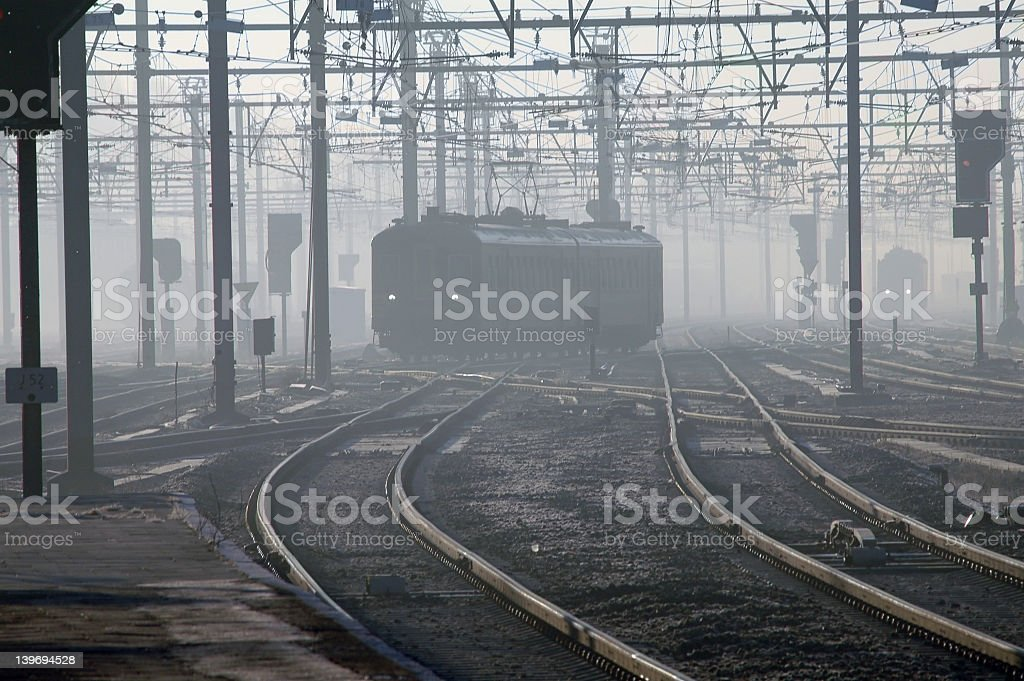 Train In Fog In Brugges, Belgium stock photo
