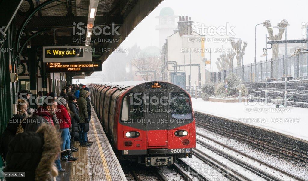 Train in Heavy Snowy in London stock photo