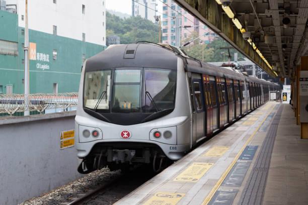 MTR Train in Hong Kong Hong Kong, Hong Kong - January 28, 2018: MTR Train on the East Rail Line at Fo Tan Station  in New Territories, Hong Kong. sha tin stock pictures, royalty-free photos & images
