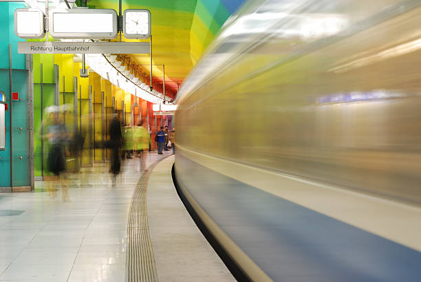 train in motion at colorful subway station - munich train station bildbanksfoton och bilder