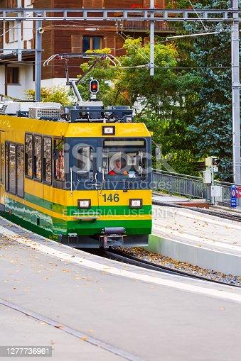 istock Train in railway station in Wengen, Switzerland 1277736961