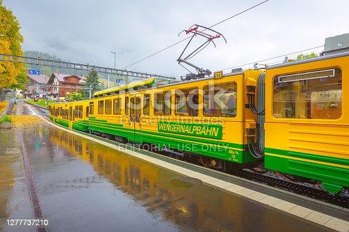 istock Train in railway station in Wengen, Switzerland 1277737210