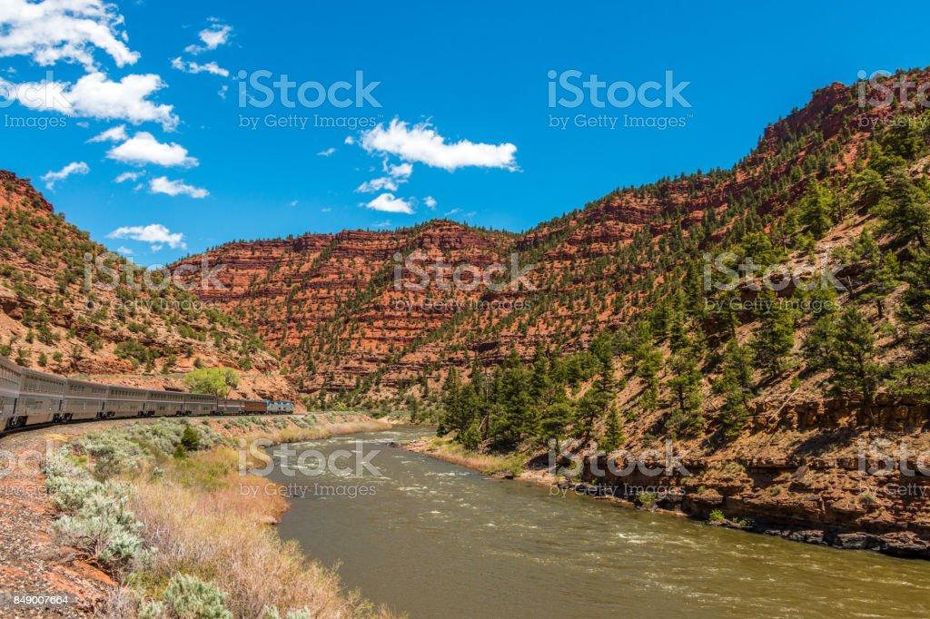 Train in the Colorado Rockies stock photo