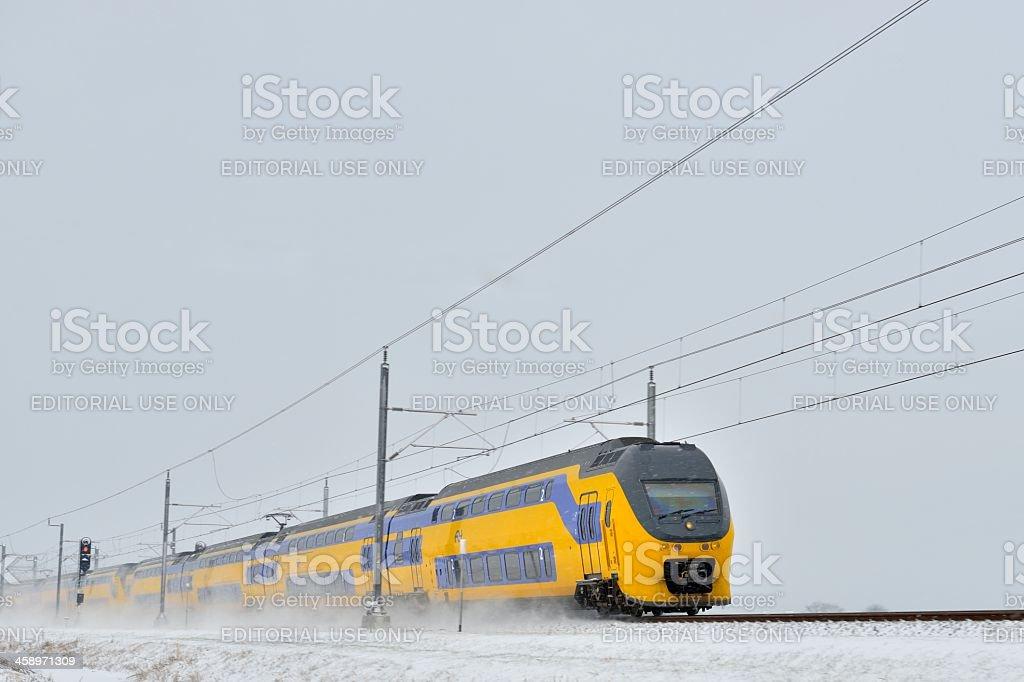 Train in the snow stock photo