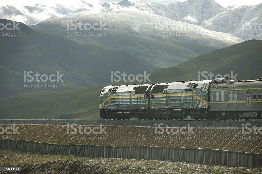 Train in Tibet  Plateau royalty-free stock photo